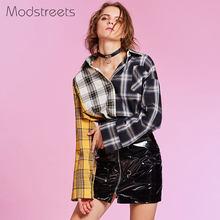 21258534b Modstreets 2018 Primavera Camisa Xadrez Mulheres Camisa de Algodão de Manga  Comprida Patchwork Blusa para Meninas Coreano Top Ma.