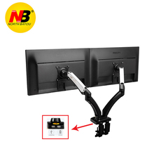New NB F180 Gasoline Spring Full Movement 17″-27″ Twin Display screen Monitor Holder Desktop Clamping/ Grommet TV Mount With Two USB Ports
