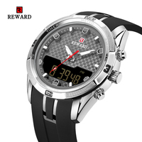 Mens Watches Top Luxury Brand Men PU Band Sports Watches REWARD Men's Quartz LED Digital Clock Waterproof Military Wrist Watch