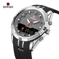 Mens Watches Top Luxury Brand Men PU Band Sports Watches REWARD Men's Quartz LED Digital Clock Waterproof Military Wrist Watch