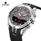 ✔  Мужские часы Top Luxury Мужчины PU Band Спортивные часы REWARD мужские кварцевые светодиодные цифров ①