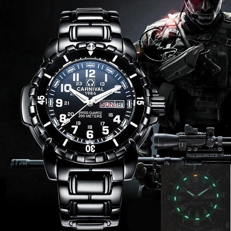 T25 tritium leucht tauchen uhr männer luxus marke Schweiz KARNEVAL quarz uhren männer uhr stahl armband wasserdicht 200m-in Quarz-Uhren aus Uhren bei  Gruppe 1