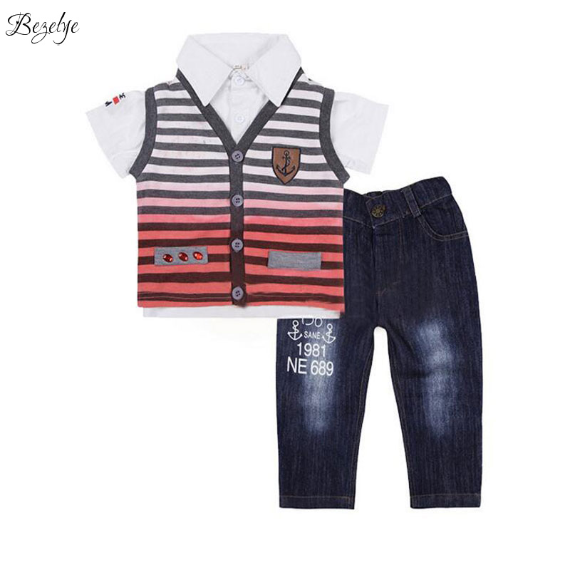 Baby Boy Clothing Set Boys Summer Clothes Short Sleeves Shirts and Letter Denim Casual Suits for Children 2T-5T Striped Sets  new 2015 summer children t shirts baby clothes child 100