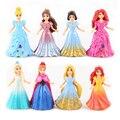 8pcs/set Princess Elsa Anna Aiel Snow White Aurora Belle Cinderella Figures Toys Dress Up PVC Action Figure Doll Model GiftWJ442