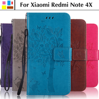 EiiMoo Phone Case For Xiaomi Redmi Note 4X Funda PU Wallet Leather Flip Case Cover For