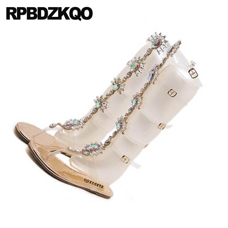 Oro Donne 11 Ginocchio Diamante Sandali Jewel In champagne Gladiatore Piatto Di Pvc Fino Grande Scarpe Cristallo Color Trasparente Formato Strass Perizoma Cinturino Stivali rrqdRw