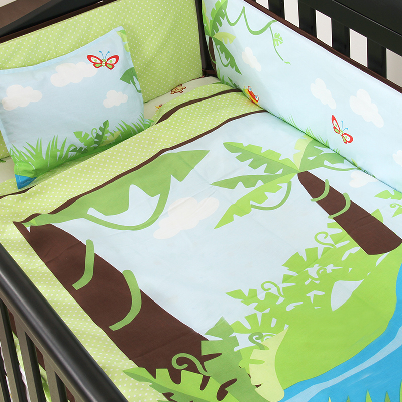 4PCS embroidered  Baby Cot Bedding Set Cotton Crib Bedding Cartoon Whale Bumpers,include(bumper+duvet+sheet+pillow) 4pcs embroidered baby bedding set character crib bedding set 100% cotton baby cot bed include bumper duvet sheet pillow