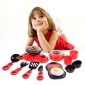 Un set de cocina de cocina de juguete de los niños diy belleza de plástico conjunto de juguete cocina de juguete función play kids educational toys rojo rosa
