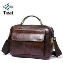 2019 New Genuine Leather Briefcase laptop bag Handbags Men Crossbody Bag Mens Travel brown Black leather briefcase Male