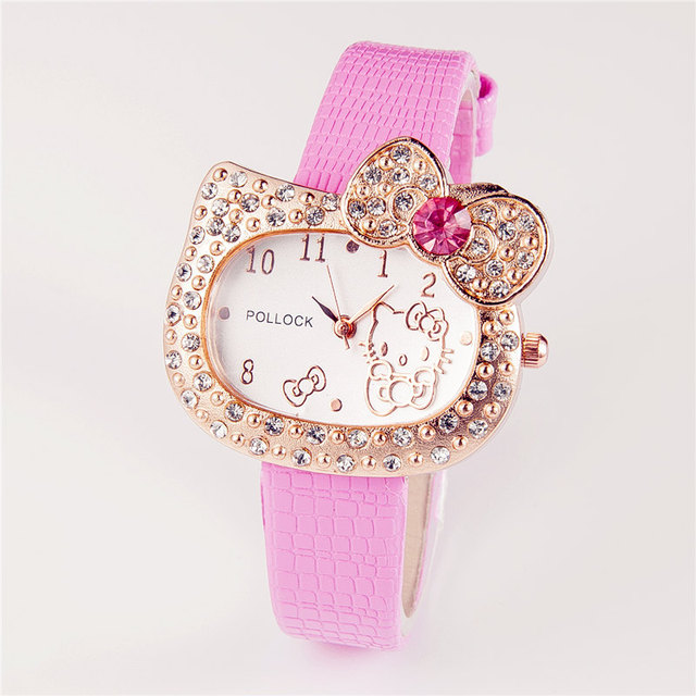 Hot Sales Cartoon Watch Hello Kitty Watch Children Girl Women Full Crystal Dress