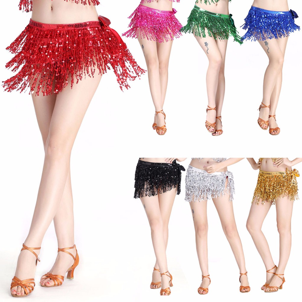 Womens Belly Dance Costume Tassel Belt 3 Rows Strips Hip Scarf Sequins Rectangle
