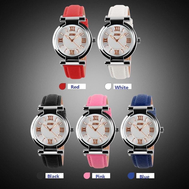 Women Watches 2018 Luxury Brand Skmei Quartz Watch Leather Strap Ladies Wristwatches Relogio Feminino Original Female Clock