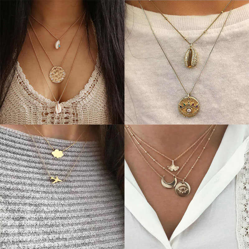 Vintage Shell Necklace For Women Fashion Gold Color Medallion Necklace Multiple Layers Pendant Long Necklaces Boho Jewelry