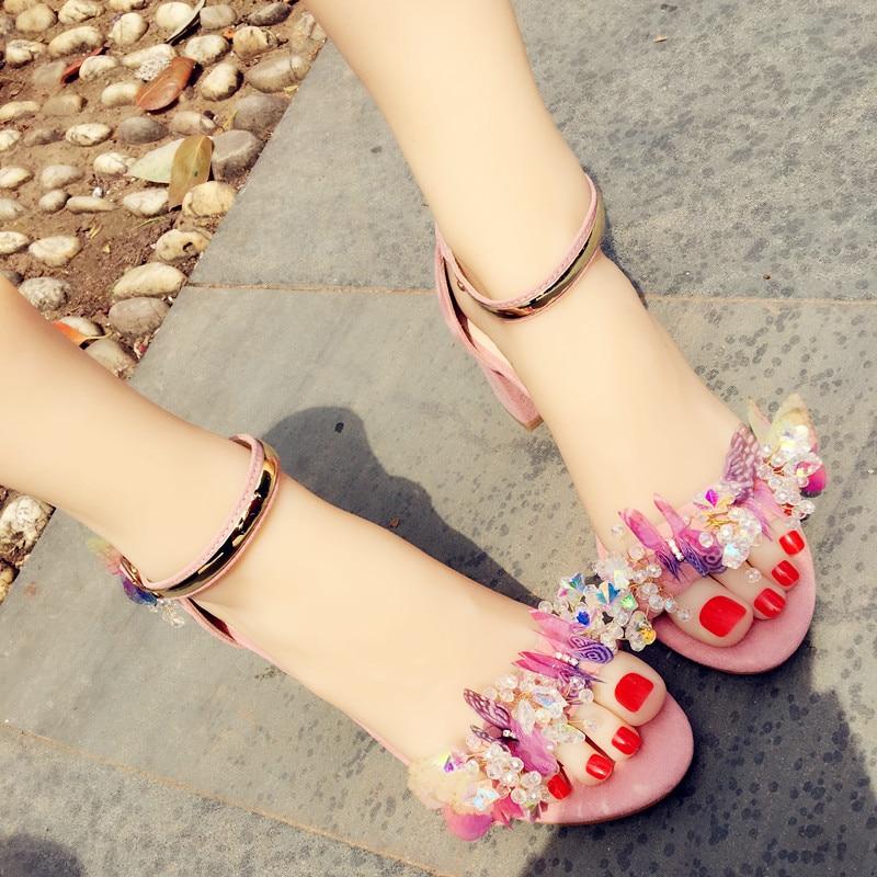 Koovan Women s Rhinestone Butterfly Sandals Manual High heeled Thick Heel Crystal Sandals Beach Girls Summer