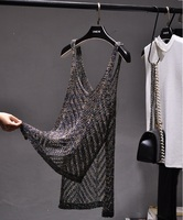 Summer Sexy V Neck Hollow Out Split Irregular Knit Tank Camis Women Shiny Loose Vest Tank