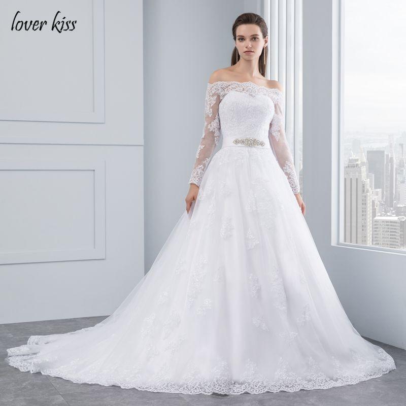 Lover Kiss vestido noiva Off The Shoulder Wedding Dresses 2019 Long Sleeves Princess Lace Bridal Bride