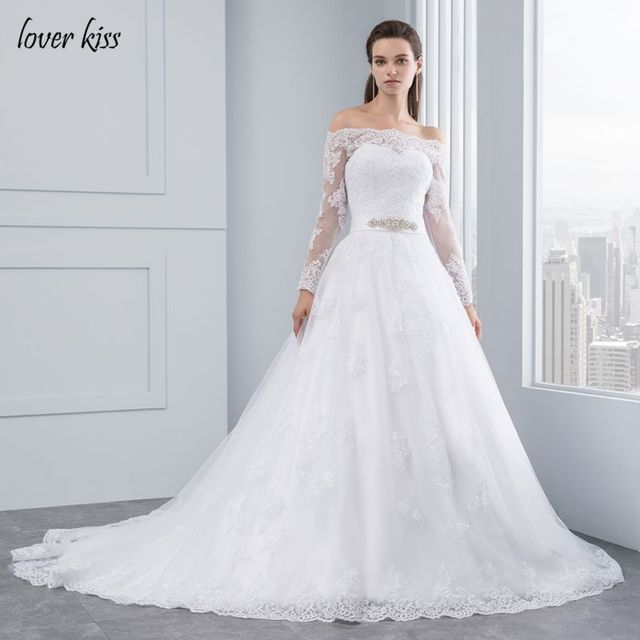 Lover Kiss Wedding Dresses 2018 Princess Lace Bridal Bride Gowns Luxury Vintage Long Sleeves Off The