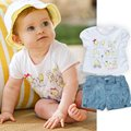 New Cotton Baby Girls Boys Summer Suit Tops & short Jean pants boys girls Outfit