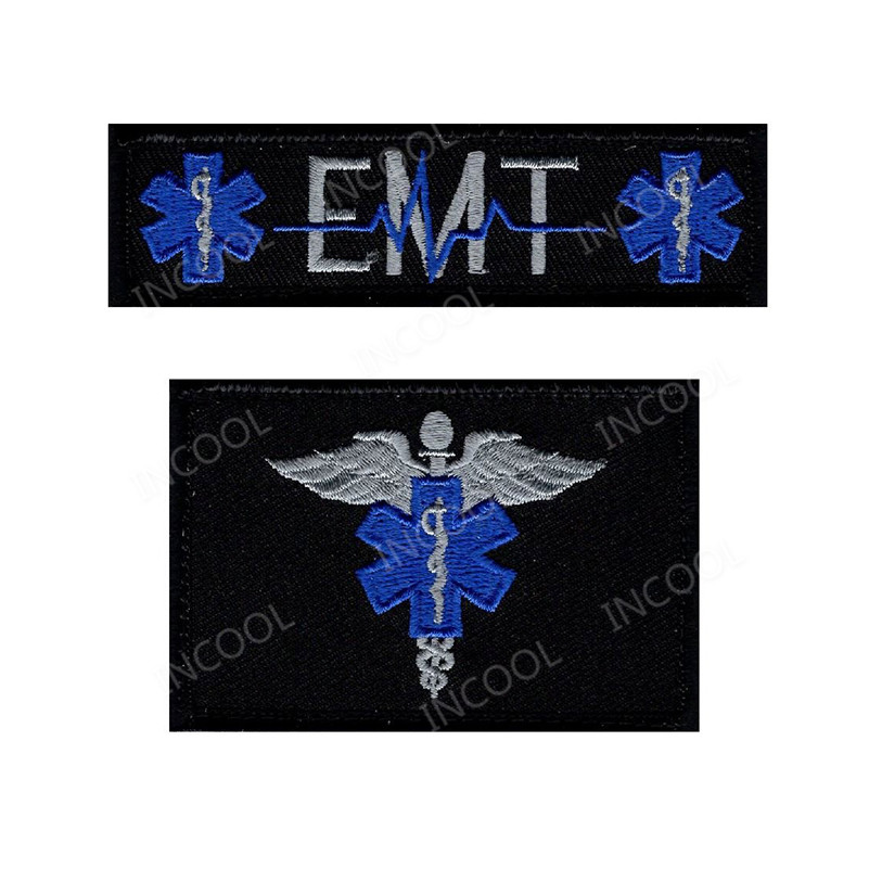 EMT USA Flag Medic Cross Star Of Life Embroidery Patch Morale Patches Military Combat Tactical Applique Emblem Embroidered Badge