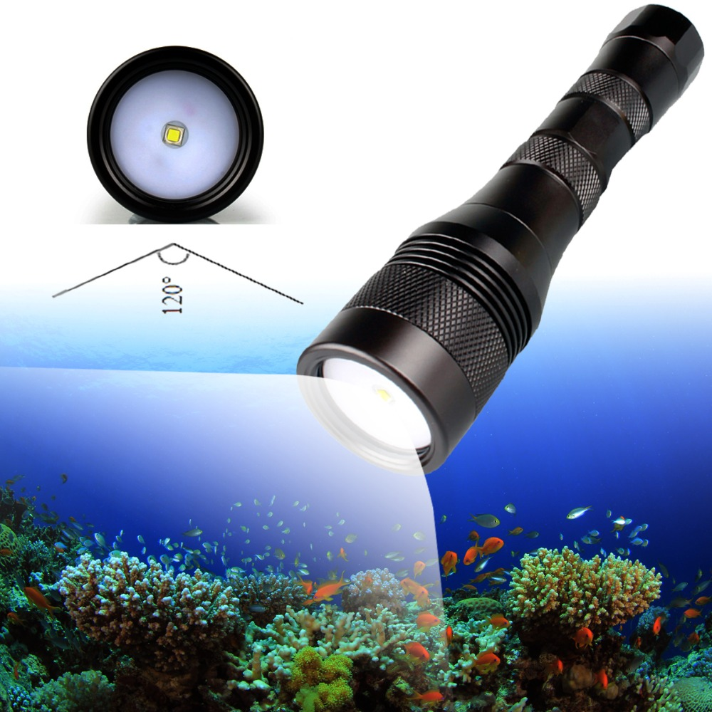 Brinyte DIV01V Underwater Photography Light 120 Degree Beam Angle Professional CREE XM-L2 LED Diving Video Light 18650 26650