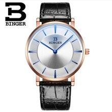 Binger Мужчины Кожаный Ремешок Минималистский Творческий Классический Luxury Brand Повседневная наручные часы relogio Водонепроницаемый Кварцевые Наручные часы