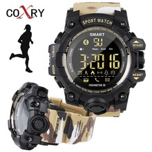 hot deal buy coxry camouflage pedometer sport watch military smartwatch sports watches for running bluetooth electronic wrist watches for men