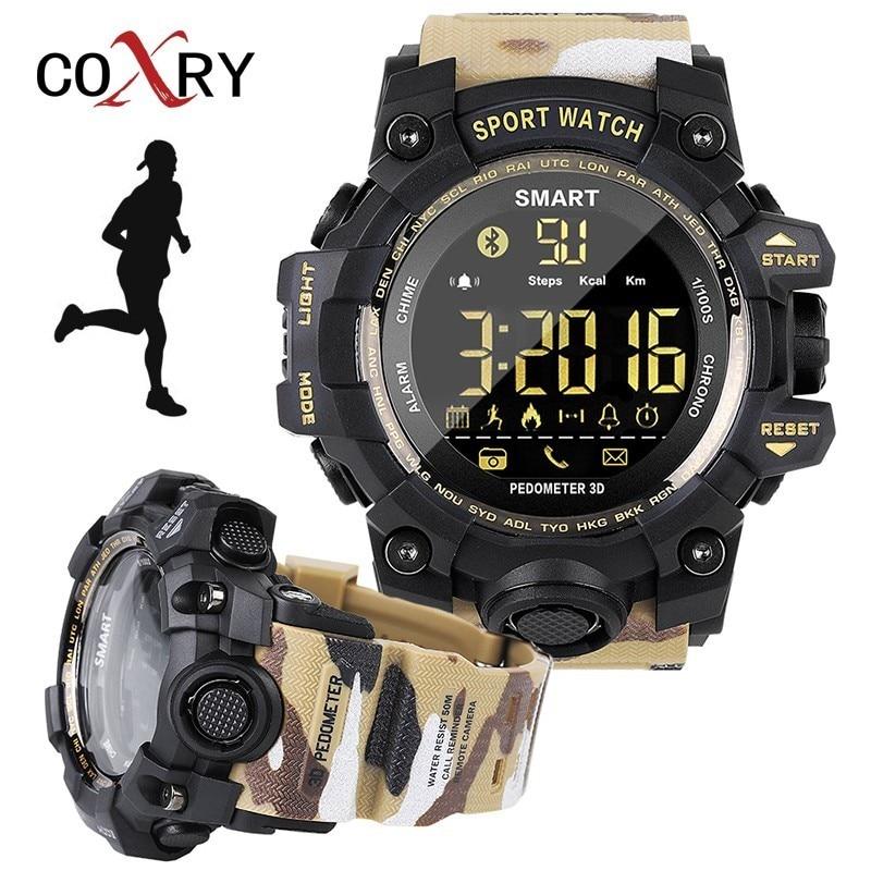 COXRY camuflaje podómetro reloj del Deporte Militar reloj relojes deportivos para correr Bluetooth electrónicos muñeca relojes para hombres