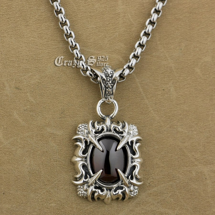 925 Sterling Silver Claw Red CZ Stone Biker Pendant 9S021A 316L Stainless Steel Necklace 24 inches no 7 stylish 316l stainless steel hand skeleton pendant necklace black silver