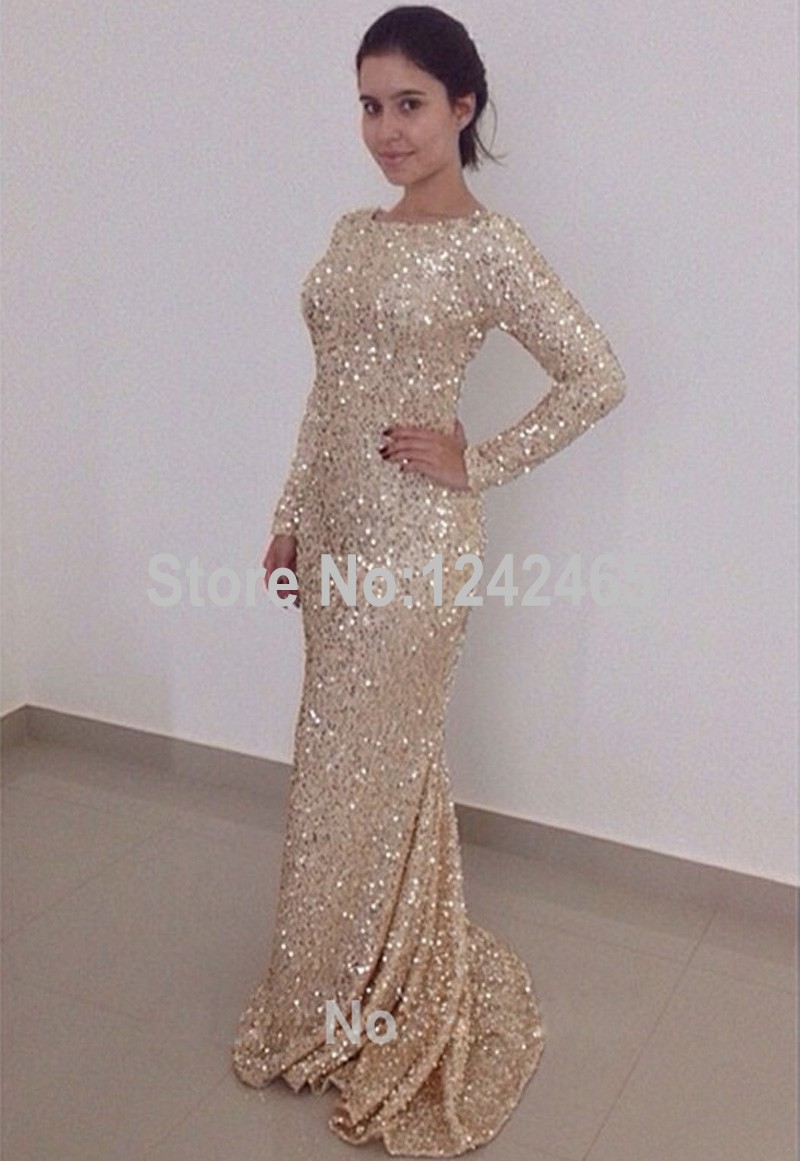 Popular Sparkly Long Sleeved Champagne Prom Dress-Buy Cheap ...