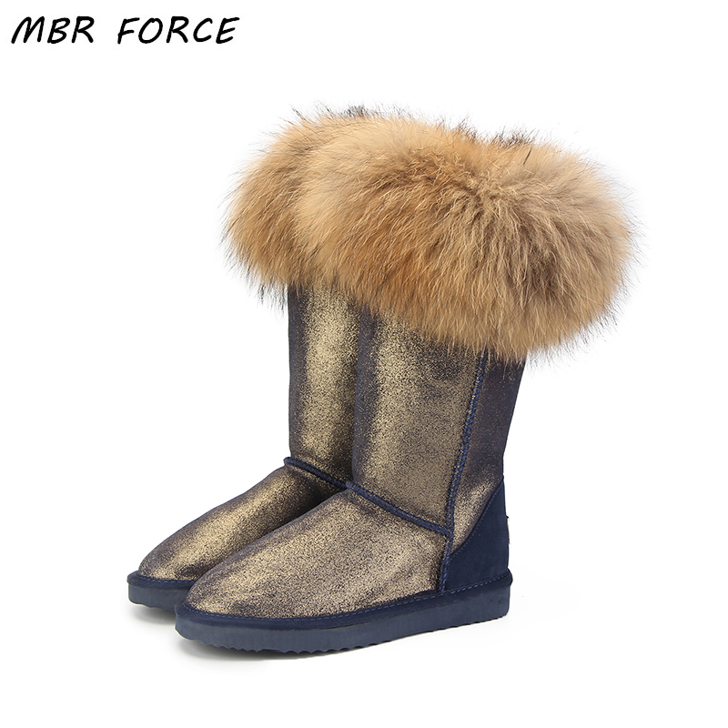 MBR FORCE Fashion Natural Real Fox Fur Women's Winter UG Snow Boots Warm Long Boots Genuine Cow Leather High Winter Boots Women goncale high quality band snow boots women fashion genuine leather women s winter boot with black red brown ug womens boots