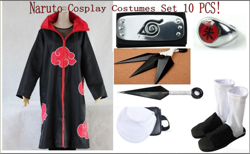10 PCS Set Naruto Akatsuki Uchiha Itachi Cosplay Costumes Cloak Shoes Headband Halloween Cosplay Costumes Anime Costumes Set