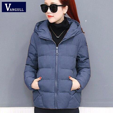 Vangull Winter Women Coat Parkas Solid Hooded Jacket 2019 Casual New Zipper Plus Size Loose Thick Outerwear Long Sleeve coat Karachi