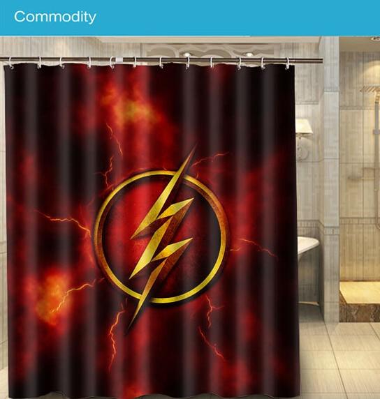 Comic Hero The Flash Logo Custom 160x180cm Nice Shower Curtain Waterproof Bath