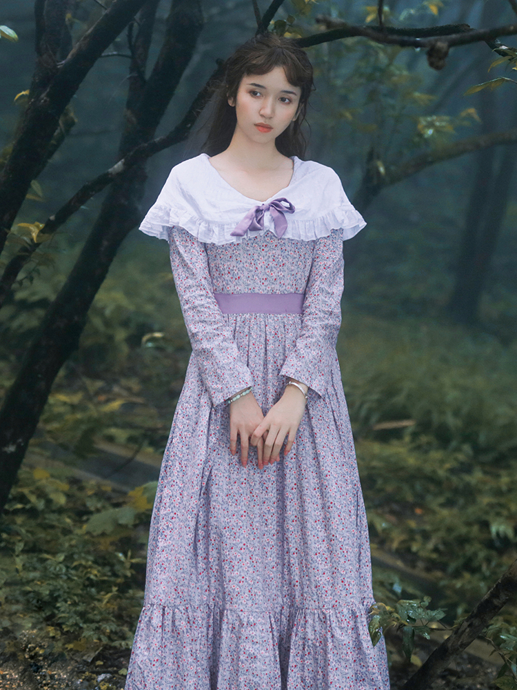 Spring Autumn Women Ladies Floral Casual Loose 100% Cotton Long Dress Vintage Retro French Lolita Sweet V-Neck Long Sleeve Dress
