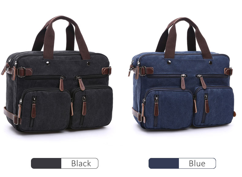 HTB1zi4IsAUmBKNjSZFOq6yb2XXa7 Scione Men Canvas Bag Leather Briefcase Travel Suitcase Messenger Shoulder Tote Back Handbag Large Casual Business Laptop Pocket