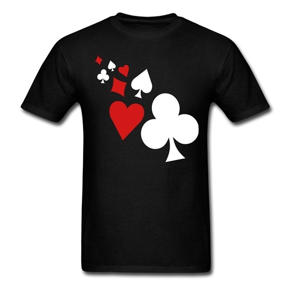 2018 Fashion Black T Shirt Short Crew Neck Hot Sale Mens Poker Design T-Shirts Black Christmas Mens Shirt