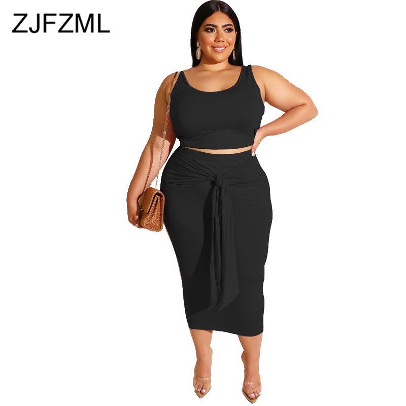 Plus Size Sexy 2 Piece Matching Sets Women Festival Clothing O Neck Sleeveless Crop Top And Bandage Mid-Calf Skirt Club Outfits