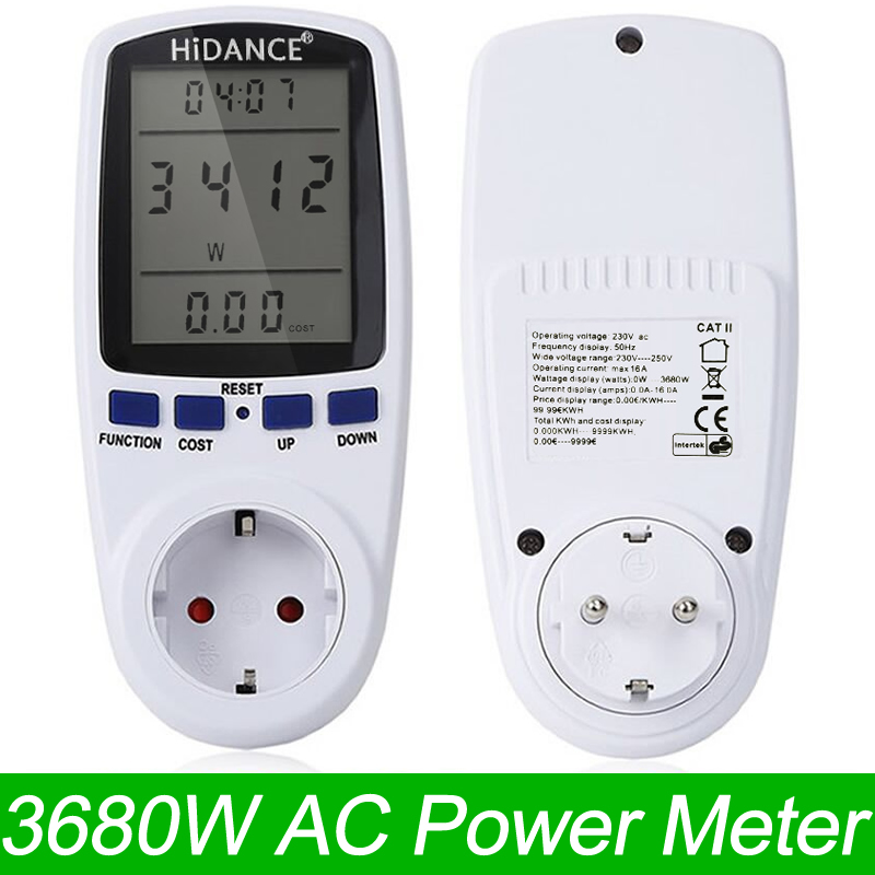 HiDANCE AC Power Meters 220v digital wattmeter eu energy meter watt monitor electricity consumption Measuring socket analyzer hp9800 pc usb port 4500w 85v 110v 220v 265v ac 20a electric power energy monitor tester watt meter analyzer with socket output