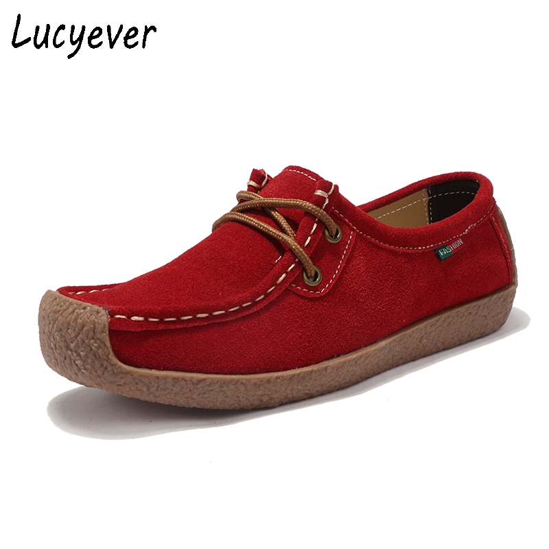 Lucyever 2018 Spring Summer Women Flats Suede Leather Moccasins Casual Shoes Woman Lace up Round Toe Platform Shoes Size 35-42 bonjomarisa large size 33 42 women s genuine leather lace up wedges increasing platform shoes woman casual spring flats