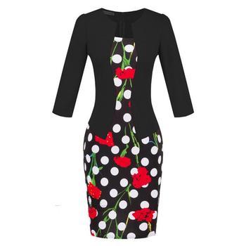 YGYEEG Women Dresses One Piece Patchwork Floral Print Elegant Business Party Formal Office Plus Size Bodycon Pencil Work Dress 5