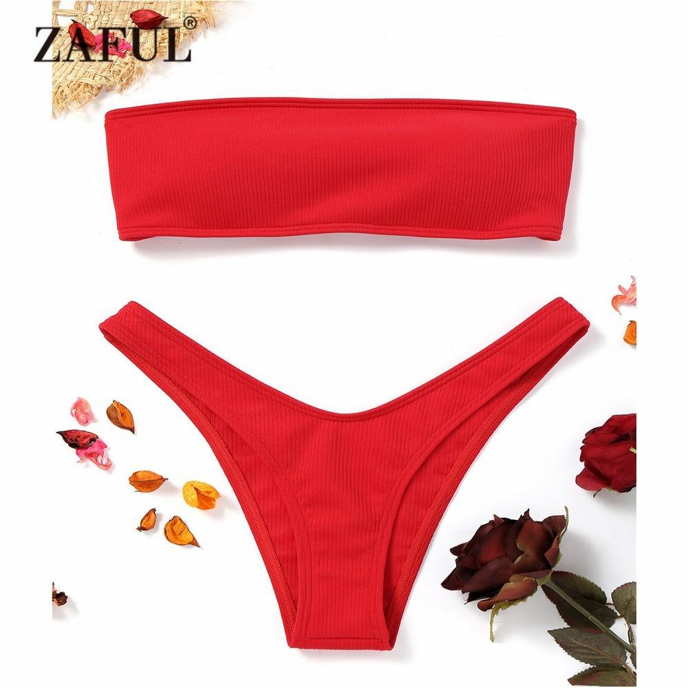 ZAFUL Neue Frauen Gerippte High Cut Bandeau Bikini Gesetzte Badebekleidung Frauen Badeanzug Trägerlosen Bikini Aufgefüllte Badeanzug Brasilianischen Biquni
