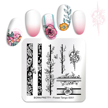 BORN PRETTY Stainless Steel Nail Stamping Plates Roses Flowers Tango Pattern Image DIY Art Stencil Tool  Template