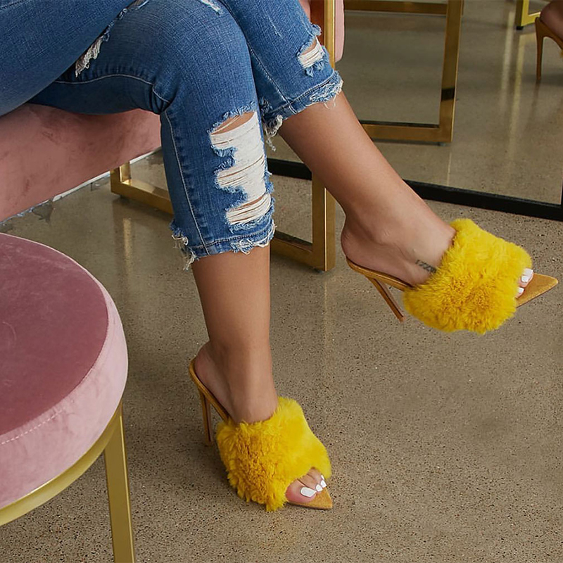 HTB1zi5Ba0jvK1RjSspiq6AEqXXao 2019 New European Station Sandals Candy Color Luxury Rabbit Fur Slippers Large Women Shoes Size 35-43 High Heel Sandals