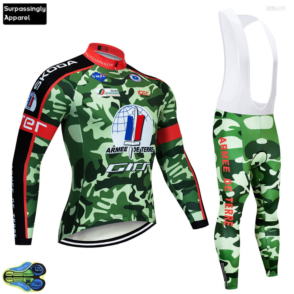2019 Pro UCI Team Camouflage Cycling Jersey Set Long Sleeve Maillot Ropa Ciclismo MTB Bike Wear Bicycle Jersey Set Clothing 12D
