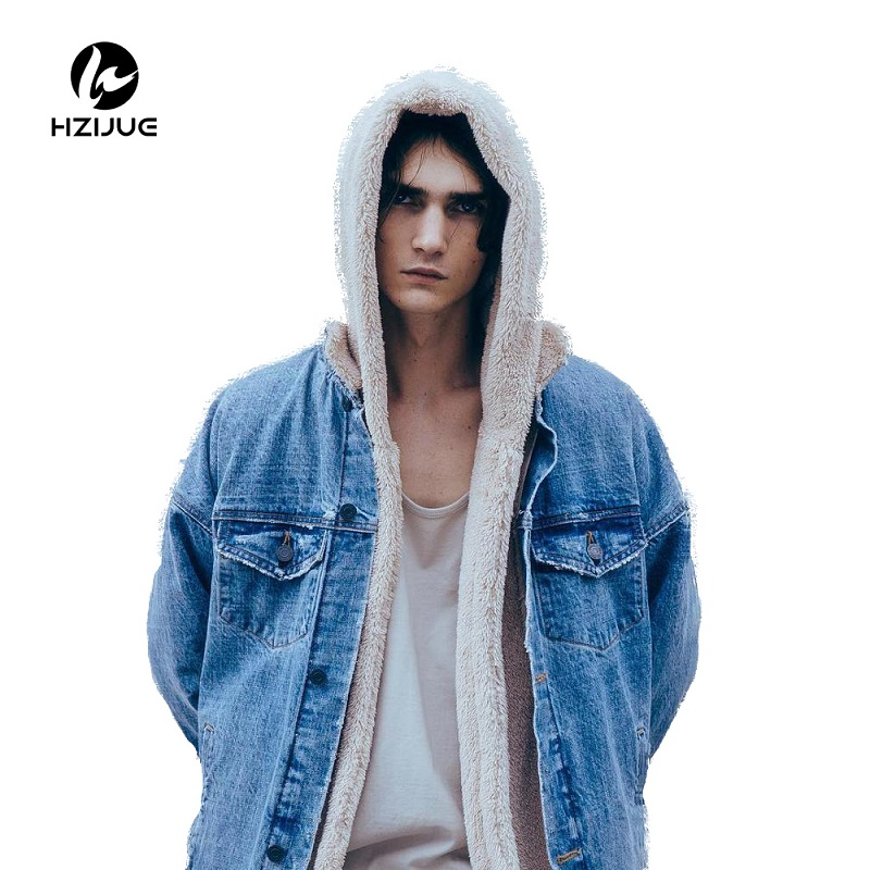 Hzijue зима нам хип-хоп шерпа Куртка Для мужчин шерпа Открыть стежка Повседневное Верхняя одежда с капюшоном, пальто