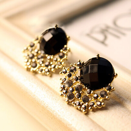 Free Shipping 10 Mix Order New Fashion Vintage Luxury Black Stone Gem Crystal Stud Women Earring E72 Jewelry In Earrings From Accessories