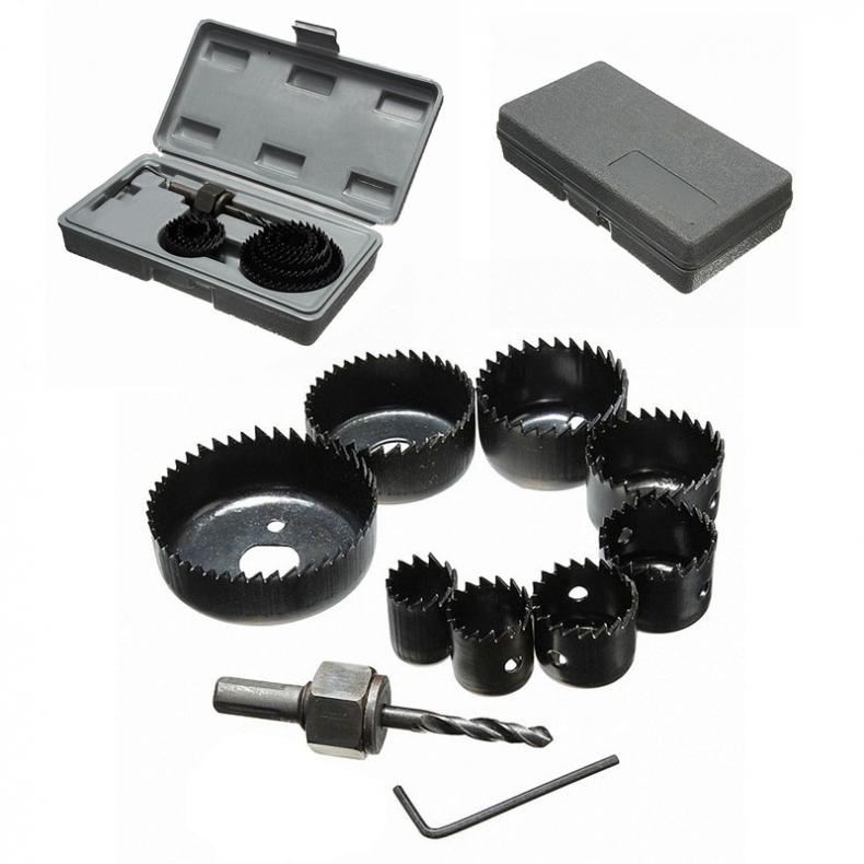 11pc/lot DIY Hole Saw Bit Cutting Set Kit 19-64mm Wood Sheet Metal Alloys Circular Round Case Drill Bits Wood Metal Sheet Alloys 11pcs hole saw metal cutting set kit 3 4 high carbon hss steel drill bits wood metal cutter circular round drill case