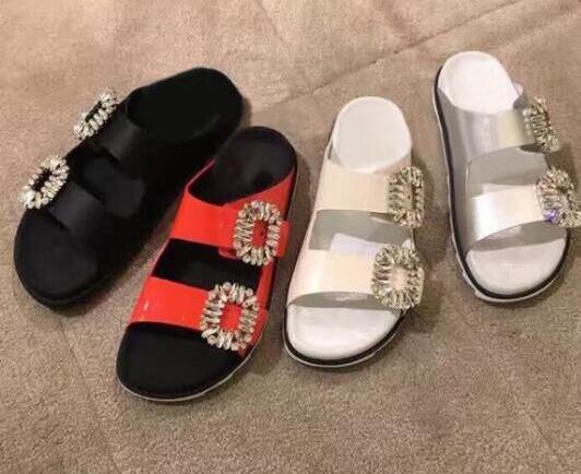 2017 summer newest crystal embellished sandal slipper open toe comfortable leather shoes cutouts flat gladiator slipper тайфун та 4015 s