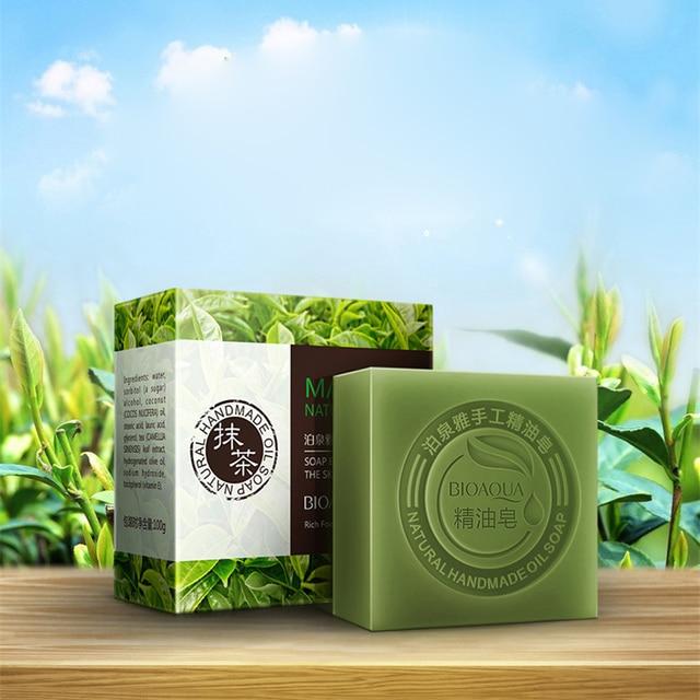 BIOAQUA Lavender Bamboo Charcoal Matcha Moisturizing Essential Oil Handmade Soap Deep Cleaning Brighten Skin Face Care Bath Soap 3