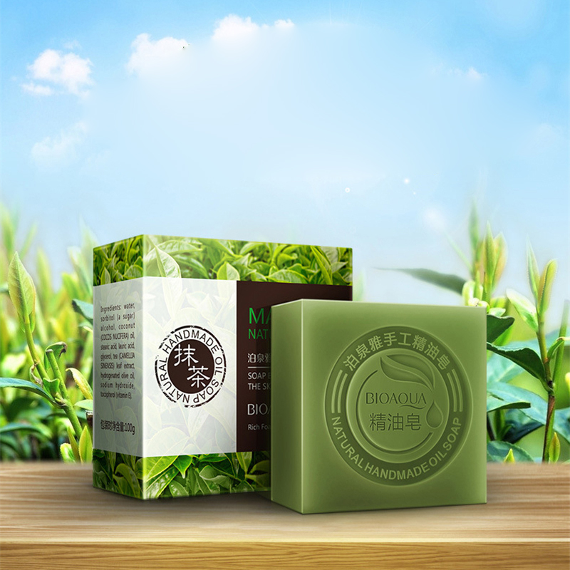 BIOAQUA Lavender Bamboo Charcoal Matcha Moisturizing Essential Oil Handmade Soap Deep Cleaning Brighten Skin Face Care Bath Soap